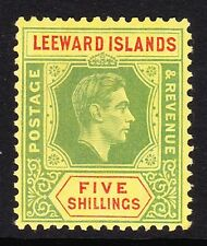 LEEWARD ISLANDS 1938-51 5/- GREEN & RED SG 112 MINT.
