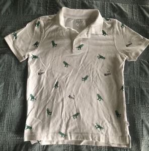 Gap Kids Boys T-Rex Dinosaur Polo Shirt White (Size Medium)
