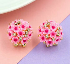 Betsey Johnson Fashion rare Alloy Rhinestone Pink flowers stud Earring Jewelry