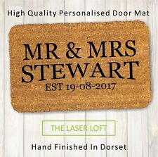 Mr and Mrs Personalised Engraved Coir Door Mat 40cm x 60cm
