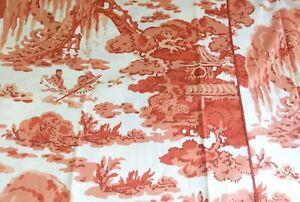 NEW William Sonoma Linen Cotton Tablecloth Asian Toile Persimmon Orange 70x108