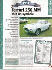FICHE AUTOMOBILE 1953 FERRARI 250 MM VOITURE COLLECTION AUTO