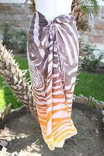 BROWN & ORANGE ZEBRA ANIMAL PRINT SHEER SARONG COVERUP SHAWL SCARF DRESS WRAP
