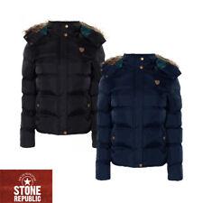 Ladies Puffer Jacket Long Detachable Hooded Padded Parka Winter Coat Brave Soul