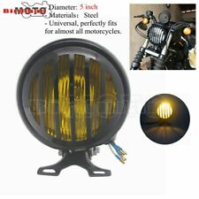 Motorcycle Headlight Black Steel Retro Headlamp & Grill Cover For Harley Bobber