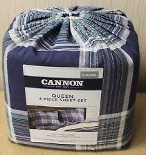 NEW CANNON QUEEN SIZE 4PC BLUE PLAID STRIPED FLANNEL COTTON SHEETS SHEET SET