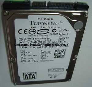 "20GB SATA 2.5"" HTS541020G9SA00 9.5mm hard drive Hitachi Our Drives Work"