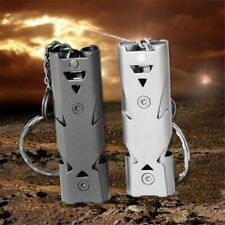 Portable Keychain Whistle Stainless Steel Double Pipe Emergency Survival Whistle