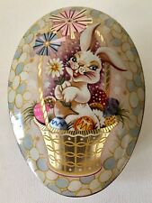 Antique English Barrett Ware Easter Rabbit Bunny Egg Shaped Candy Chocolate Tin