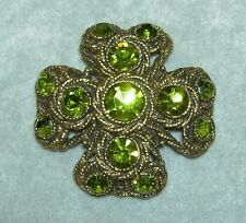 Vintage HAR Moss Green Rhinestone Antique Gold Tone Maltese Cross Pin Brooch