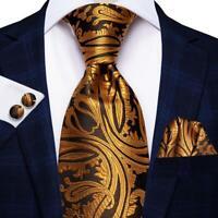 USA Gold Blue Brown Paisley Mens Tie Necktie Silk Jacquard Woven Set Wedding