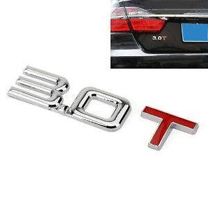 3.0T 3D Metal Emblem Badge Sticker Fits Audi A3 A4 A5 A6 A7 B6 B7 B8 Q3 Q5 Q7 TT