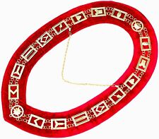 Masonic Regalia Master Mason GOLDEN Metal Chain Collar RED Backing DMR-400GR