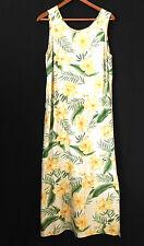 Island Waves Maxi Dress 100% Silk Sleeveless Floral Slits Size M