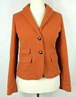 Ladies NEXT Heritage Vintage Orange Wool Elbow Patch Sport Blazer - Size 12