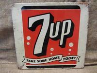 Vintage Metal 7up Display Sign > Antique Old Soda Pop Cola Store Beverage 9125