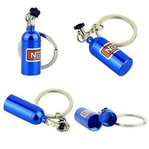 Blue Nitrous Oxide Bottle Key Chain Keychain Keyring Stash Pill Box