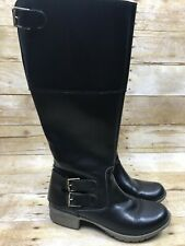 Clarks Women's Size 6 Black Leather Tall Knee High Flat Boots Double Buckle
