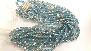 tagged strands,600 RARE vintage swarovski 6mrm round crystal beads,aqua.CAL 5000