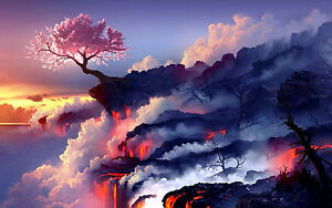 Large Framed Print - Cherry Blossom Tree on the Edge of a Lava Field (Picture)