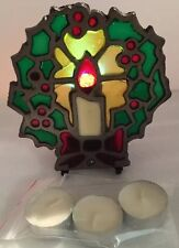 Vintage Lovely Enamel Poinsettia Tea Light Candle Stained-Glass Look Style Metal