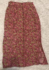 NWT Women's April Cornell Victorian Garden Flower Skirt Red Size Large
