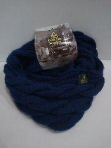 Celtic Ore Woollens Soft Irish Aran Knitted Scarf, Navy Blue Neck Warmer