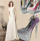 New Womens Bling Bling Ladies Wedding High Heels Shoes - Free transportation