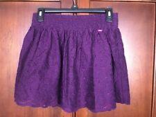 Aeropostal Junior Mini Skirt Purple Embroider Eyelid Cut Medium