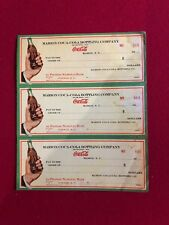 "1930's, Coca-Cola, ""Un-Used"", Set of (3) Bottling Checks (Scarce)"