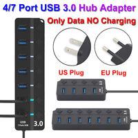 Plug AC Power Adapter Connector USB 3.0 Hub 5Gbps High Speed Data Sync Splitter