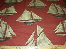 "~BTY~ BRAEMORE""SAILBOATS"" NAUTICAL~COTTON DRAPERY UPHOLSTERY FABRIC FOR LESS~"