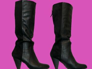 Women's Black Faux Suede & Leather Boots | Medium Heel | Size 7.5