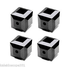 GLASS FACETED SQUARE CUBE BEAD BLACK JET OPAQUE COLOR 4MM 100 BEADS STRAND GC2