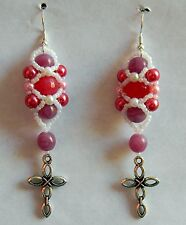 Rose Quartz Silver Cross Earrings by Slave Violet Made in the USA  Free Shipping
