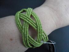 Design Six Green Beaded Cuff Bracelet Bangle Adjustable BNWT