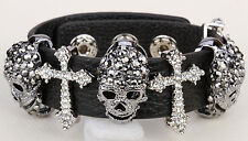 Black leather skull silver cross bangle bracelet women jewelry adjustable LD03