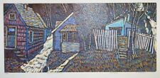 A cool Tom Rudd color woodblock print, Flood Series,Village, pencil signed