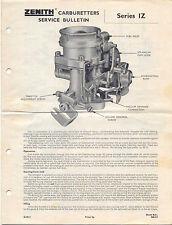 ZENITH CARBURATORE ORIGINALE comunicato di servizio serie IZ PUB. sb.213