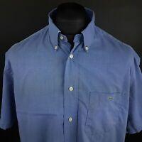 Lacoste Mens Vintage Shirt 43 (XL) Short Sleeve Blue Regular Fit No Pattern