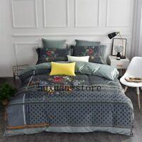 Flannel Classics Bedding Set Fleece Duvet Cover Sheet Pillowcases King Size 4pcs