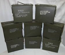 """8 QTY """"TALL"""" 50 CAL US MILITARY AMMO CANS - Used One Time, Original & FREE SHIP"""