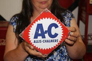 Vintage 1950's A-C Allis-Chalmers Farm Tractor Gas Oil Porcelain Metal Sign