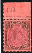 Leeward Islands 1938 KGVI £1 brown-purple & black/red VFU. SG 114. Sc 115a.