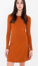 American Apparel Long Sleeve Ponte A-line Dress Rust Dark Orange Umber M NEW
