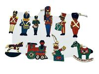 Fabulous Lot Of 10 Vintage Flat Wooden Hand Painted Christmas Ornaments