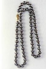 BRAND NEW 14K GOLD 6MM BLACK PEARL NECKLACE 18 INCH