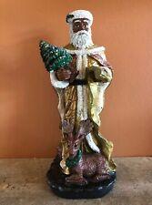 """Vintage Black African American Santa Claus w/ Deer Christmas Tree Figurine 10"""""""