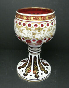 Antique BOHEMIAM CRANBERRY w/ WHITE ENAMEL Chalice Goblet **HUGE**