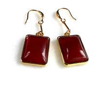 Burgundy Dark Red Big Heavy Retangle Long Dangle Earrings 14K Yellow Gold Plated